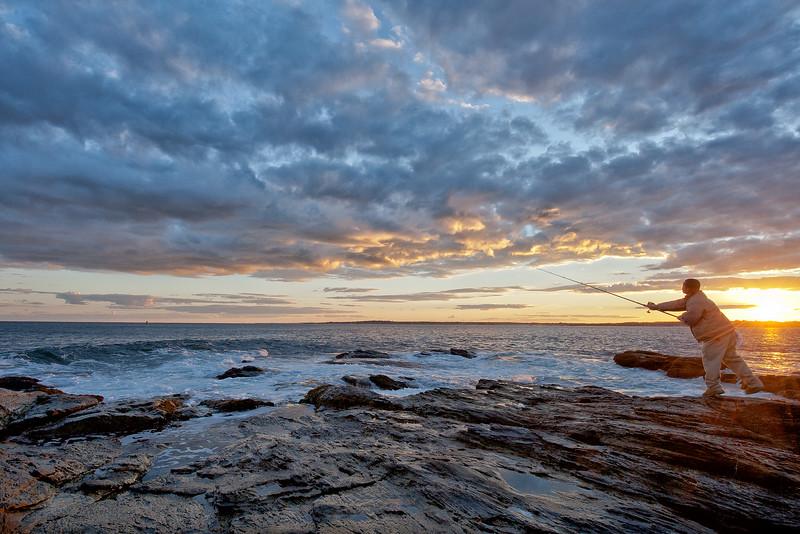 Fishing for Striped Bass, Beavertail @ Sunset,  south end Conanicut Island, Jamestown, Rhode Island
