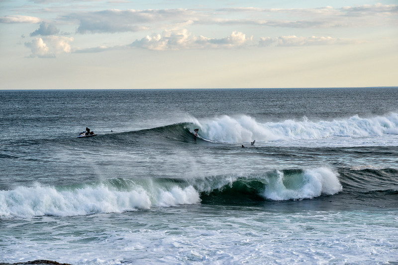 Surfing Beavertail, Jamestown, R.I., on the waves from  Cristobal.