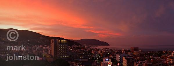 Flaming sunset over the city of Ito, on Shizuoka Prefecture's Izu Penninsula, Japan.