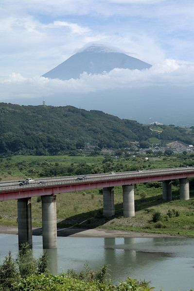 Mt. Fuji in the summer, over looking the Tomei Express way.
