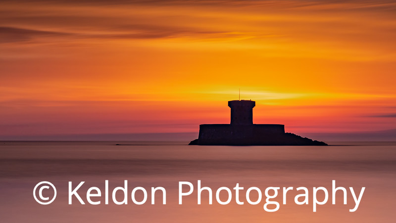 Silhouette of La Rocco Tower, St Ouen, Jersey