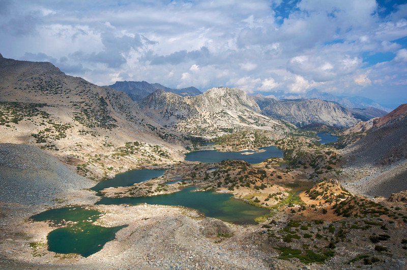 Bishop Lake, Saddlerock Lake, Ledge lake, Spearhead Lake, From Bishop Pass, John Muir wilderness