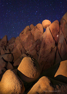 Giant Marble Rocks light painted at night in Joshua Tree National Park.
