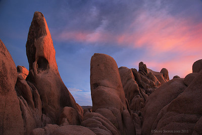 The Wizard rock formation at White Tank campground in Joshua Tree National Park.