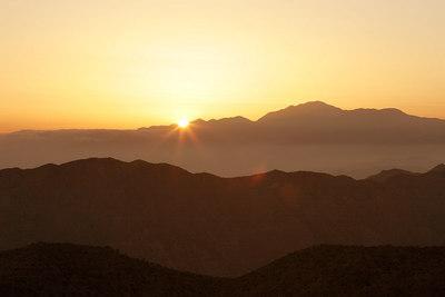 The sun setting near Mt. San Gorgonio.