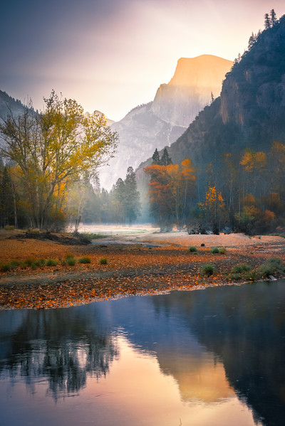 Half Dome Reflections Down By The River - Lower Yosemite Valley, Yosemite National Park, CA