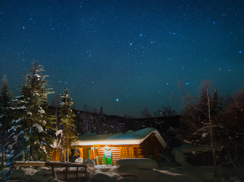 Warm Cabin Late At Night Under Stars - Chena Hot Springs, Chena, Alaska