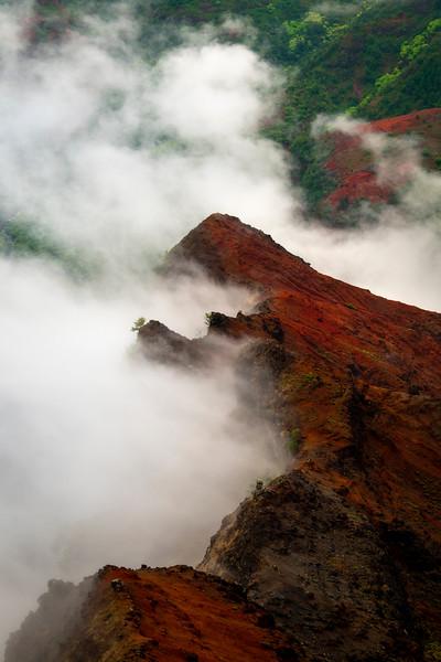 Cloud Mist Working Its Way Up The Cliff Face - Waimea Canyon State Park, West Side, Kauai