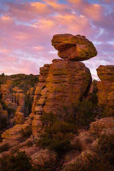 Balanced Rock Under A Blood Red Sky - Chiricahua National Monument, Arizona