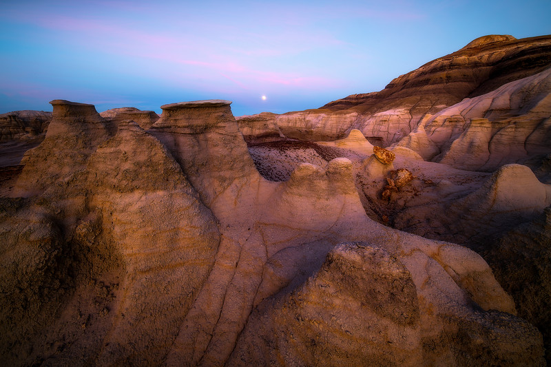 Moon Breaking The Horizon -  Bisti/De-Na-Zin Wilderness, New Mexico