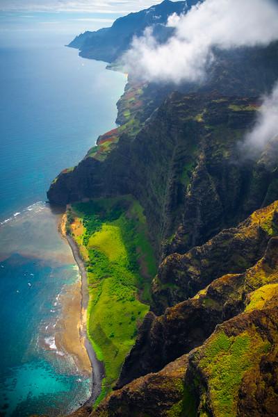 First Views Of Na Pali Coastline - Na Pali Coastline, Kauai, Hawaii