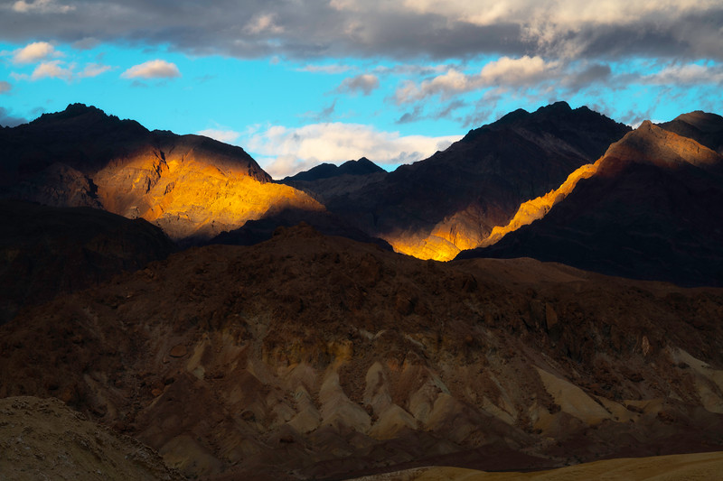 Golden Light Spotlight On The Hills - Death Valley National Park, Eastern Sierras, California