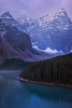 Kayaking Through The Canadian Rockies In Early Morning - Moraine Lake, Banff National Park, AB, Canada