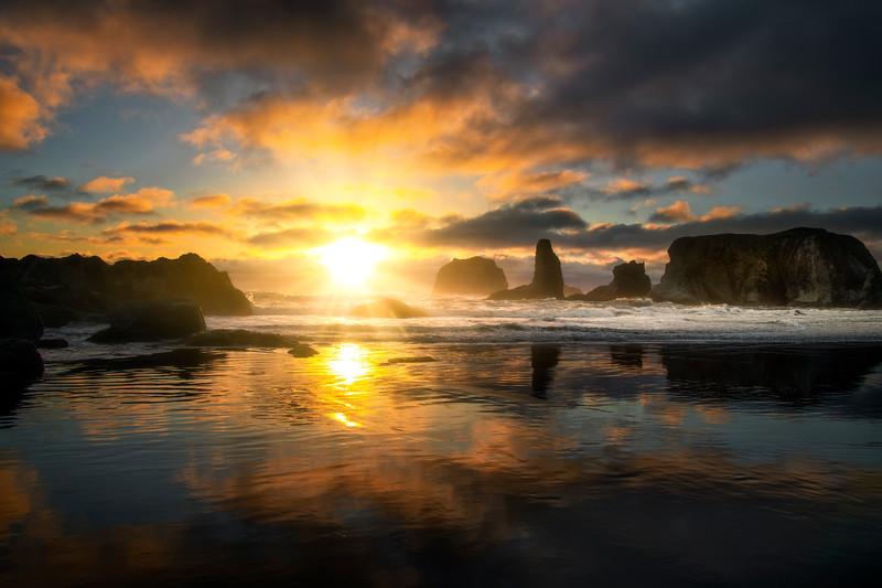Sunset Glow Around The Bandon Seastacks - Bandon Beach, Oregon Coast