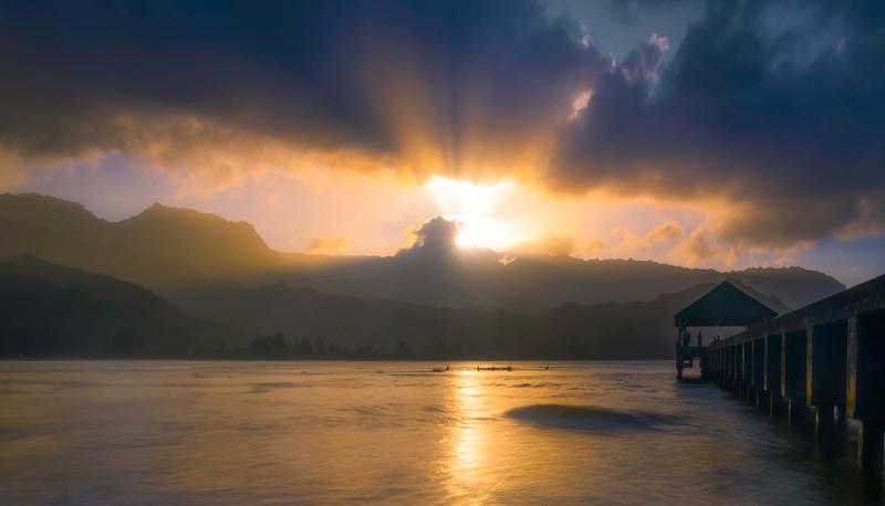 Hanalei Pier Sunburst Moments
