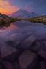 Rocks Under The Water Leading Into The Mountain Pinnacle Peak Area, Mount Rainier National Park, WA