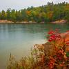 Fall Foliage Along The Lake Shore - Algonquin Provincial Park, Nipissing, South Part, Ontario, Canada