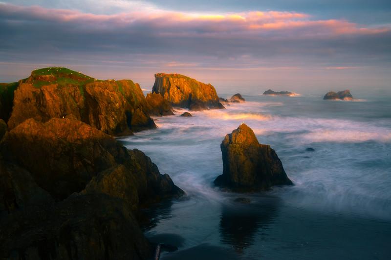 Morning Light On The Cliffside - Bandon Beach, Oregon Coast