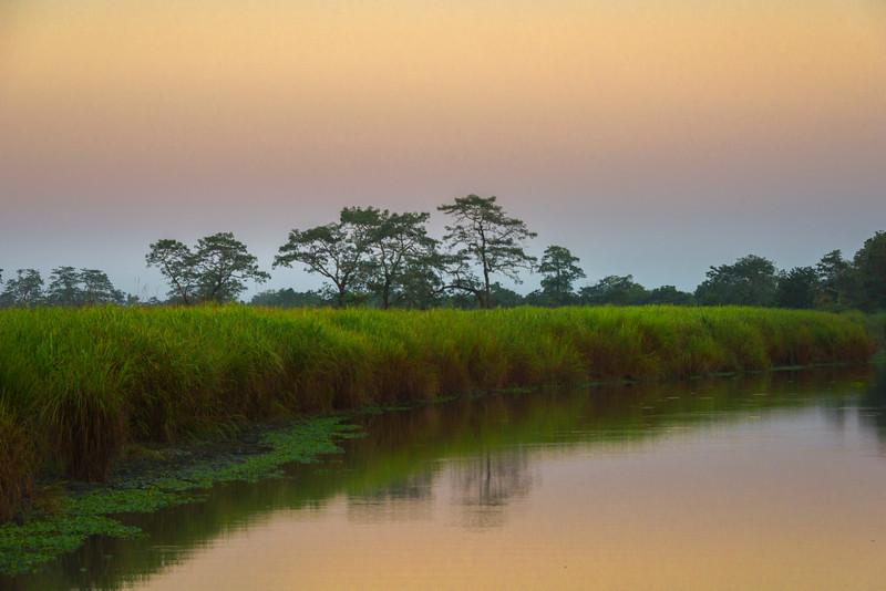 Sunset Colors Reflected In River Kaziranga National Park, Assam, North-Eastern India