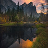 Tahiti Beach And Three Brothers Sunrise Color - Lower Yosemite Valley, Yosemite National Park, CA