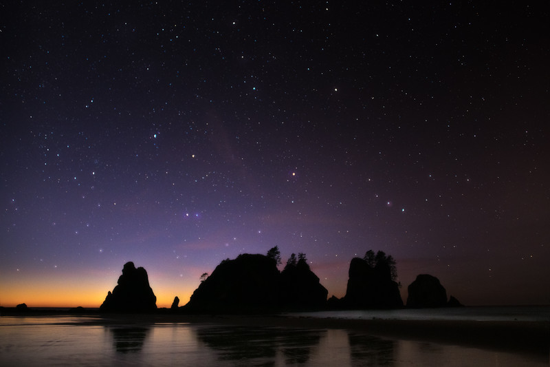 Starry Night Over The Point Of Arches On Shi Shi - Shi Shi Beach, Point Of Arches, Olympic National Park, Washington