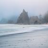 Rushing Tide Waves During A foggy Evening On Rialto Beach - Rialto Beach, Olympic National Park, WA