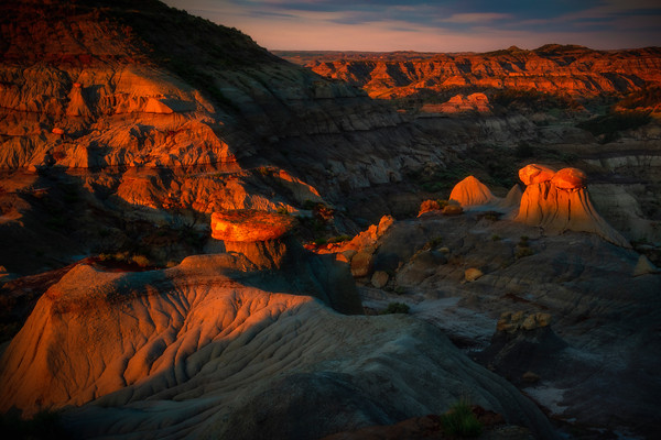 Only The Tops Have Light - Makoshika State Park, Glendive, Eastern Montana