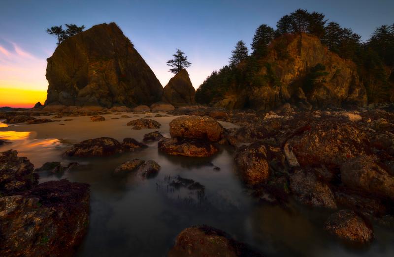 Shi Shi Beach Alpenglow - Shi Shi Beach, Point Of Arches, Olympic National Park, Washington