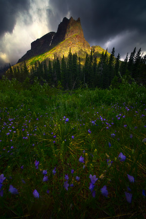 Stormy Light On The Castle - Lake Josephine, Grinnell Lake Trail,  Glacier National Park, Montana