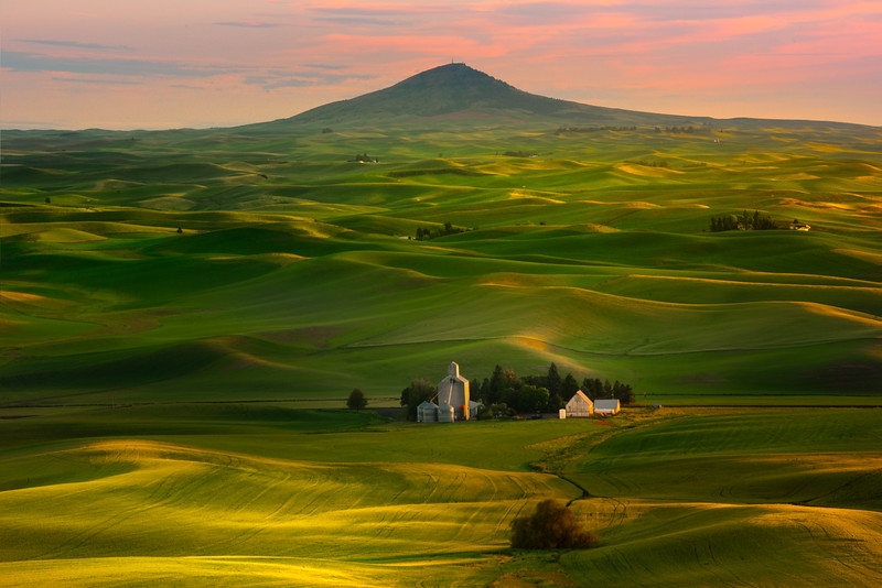 Leading Lines Into Sunset From Butte - Tekoa, Palouse, WA