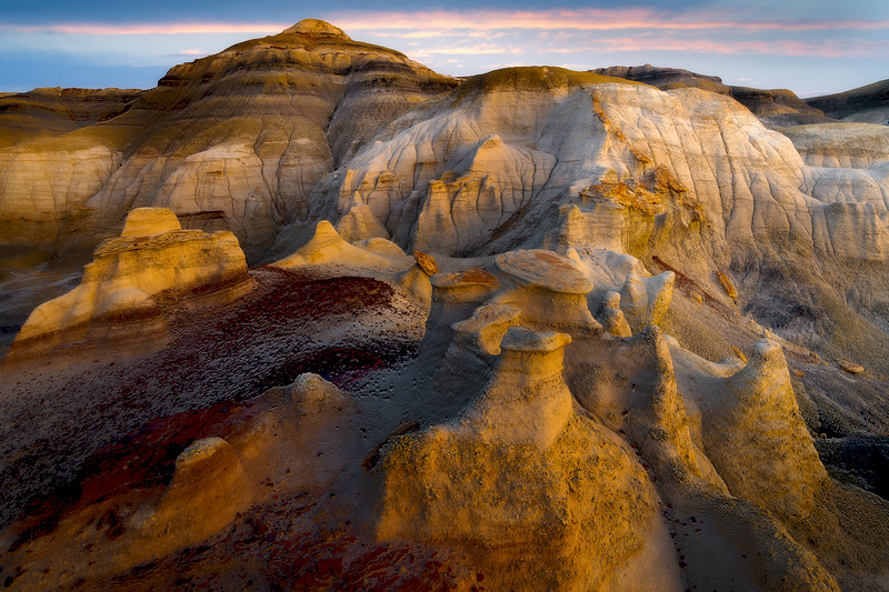 Last Of The Warm Light Bouncing Off The Hoodoos -  Bisti/De-Na-Zin Wilderness, New Mexico