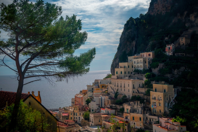 In The Hills Looking Down On Atrani - Atrani, Amalfi Coast, Campania, Bay Of Naples, Italy
