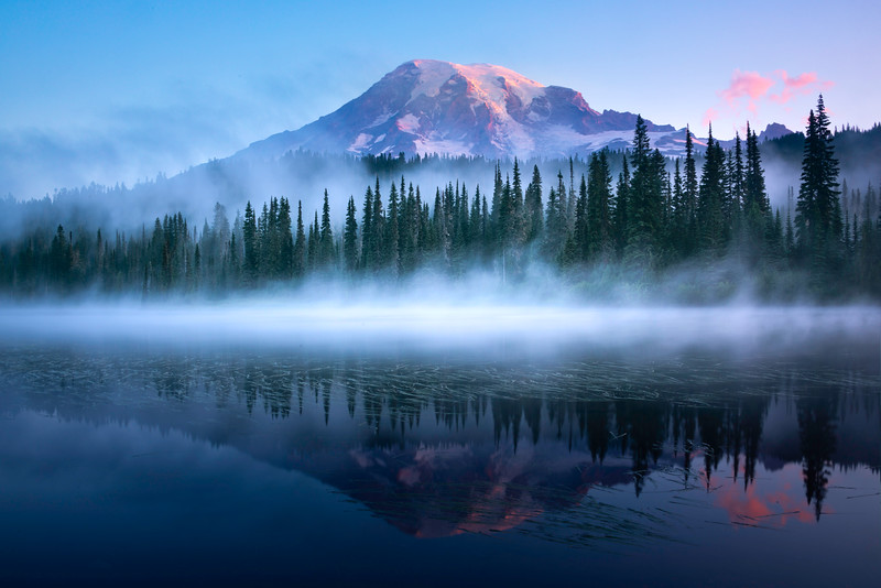 Reflections Of Rainier In The Mist - Reflection Lakes, Mt Rainier NP, WA