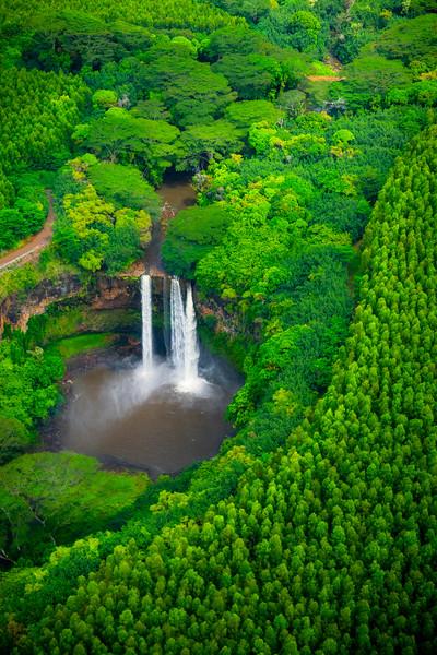 A Wider Look At Wailua Falls From The Sky - Wailua Falls, Kauai, Hawaii