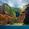 Glancing Light Showcases Na Pali Spires - Na Pali Coastline, Kauai, Hawaii