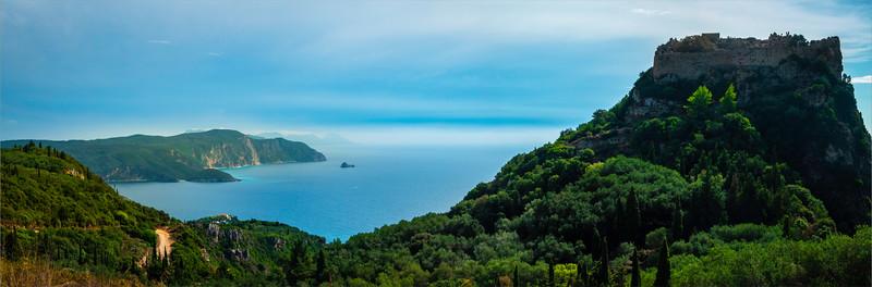 Pano Of Castle And Corfu Coastline - Corfu, Greece