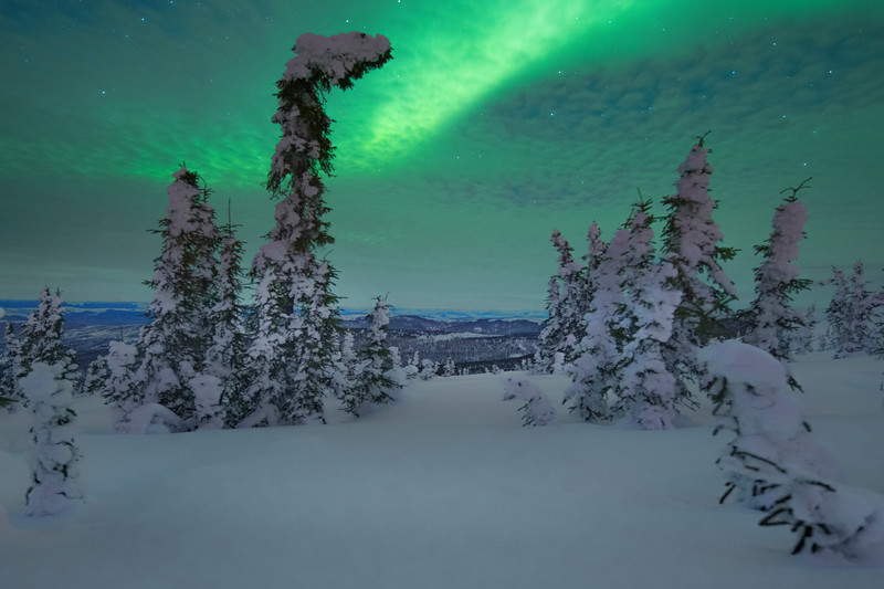 Green Glow Astray Above The Hills - Mt Skiland, Fairbanks, Alaska