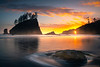 Sunset Sunburst Through Second Beach Hole - Second Beach, Olympic National Park, Washington