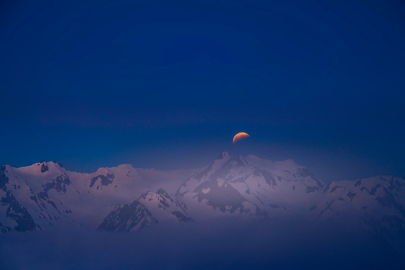 SuperMoon Eclipse Over The Olympics From Hurricane Ridge - Hurricane Ridge, Olympic National Park, WA