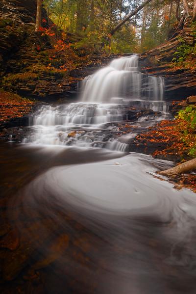 At The Base Of The Spinning Falls in Ricketts Glen-Ricketts Glen State Park, Benton,  Pennsylvania