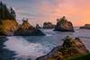 Secret Beach At Sunset Near Beach - Secret Beach, Samuel H Boardman Scenic Corridor, Oregon Coast