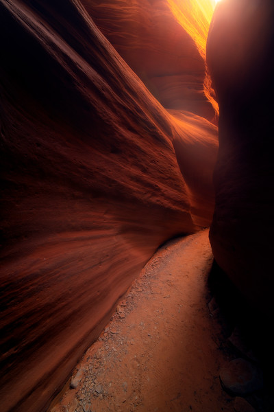 Glow Of Warmth From The Exit Of The Canyon -Peek-A-Boo Canyon, Grand Escalante National Monument, Utah