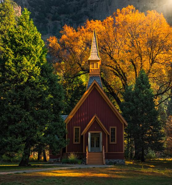 Late Afternoon Light On Yosemite Chapel - Lower Yosemite Valley, Yosemite National Park, CA