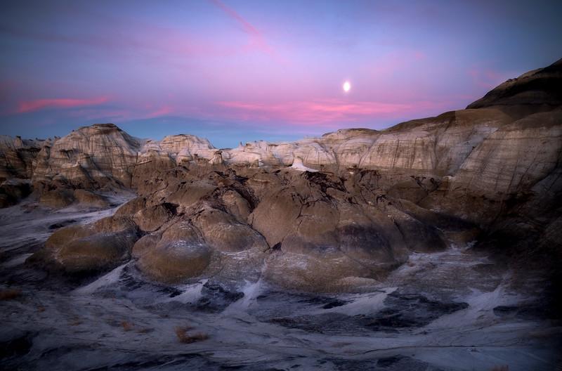 Hoodoo Walls Under A Full Moon -  Bisti/De-Na-Zin Wilderness, New Mexico