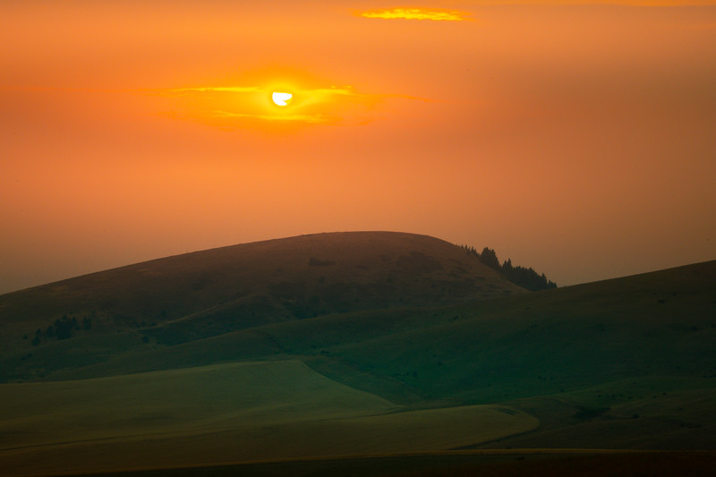Sunset Reds Through The Clouds - Palouse, Eastern Washington