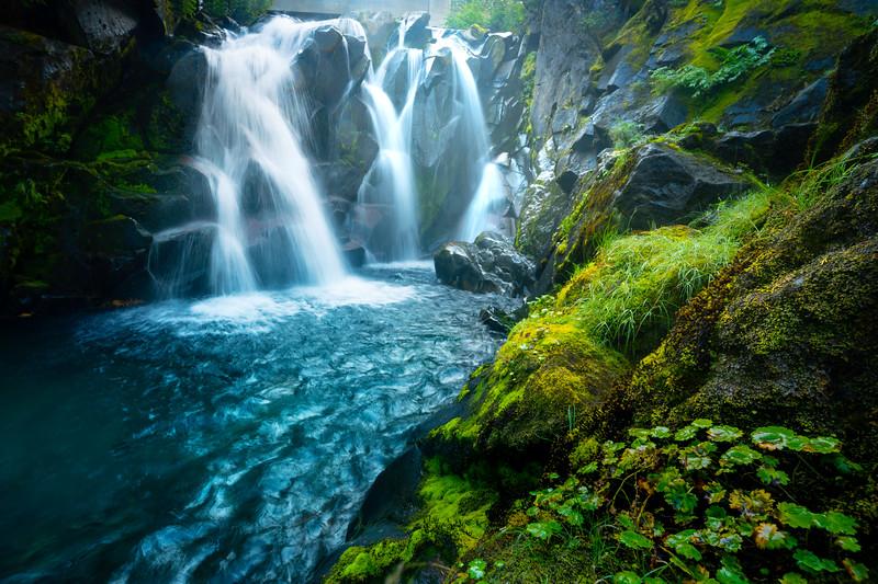 Down At The Waterfall Edge - Paradise River Waterfall, Mt Rainier NP, WA