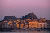 Twilight Pink Sets On Old Corfu - Corfu, Greece