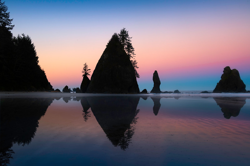 Twilight Reflections In The Ripples - Shi Shi Beach, Point Of Arches, Olympic National Park, Washington