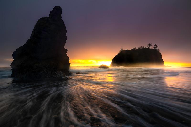 Sunset Splash On Ruby Beach - Ruby Beach, Olympic National Park, WA
