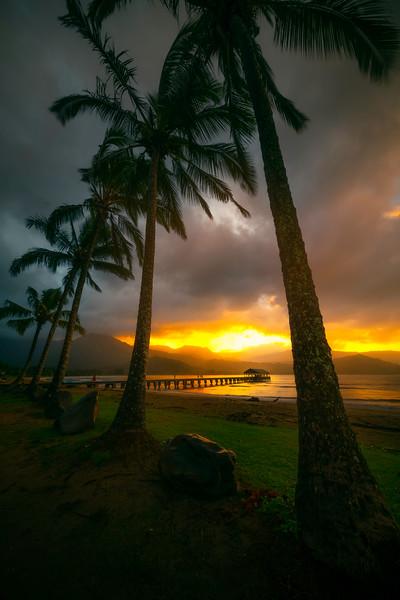 Breaking Clouds Showcase Hanalei Pier Near Sunset